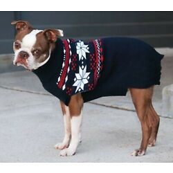 NEW Outdoor Dog Blue Red Snowflake Turtleneck Dog Sweater Clothing (Pick Size)