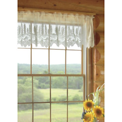 Heritage Lace White PINECONE Window Valance 60''W x 16''L - Made in USA!