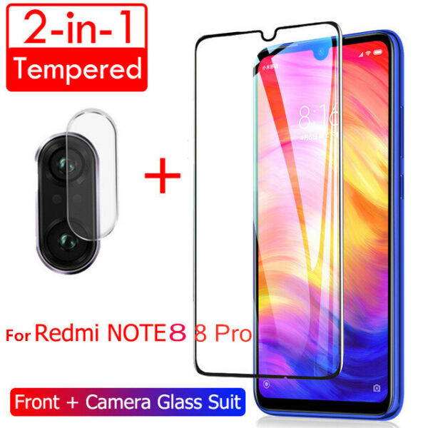 Per Xiaomi Redmi Note 8 Pro 8T Camera Lens Full Tempered Glass Screen Protector
