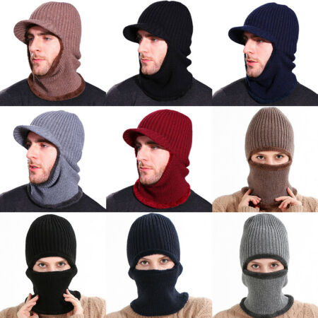 img-Men Women Trapper Face Mask Beanie Hat Cap Thermal Knitted Insulated Winter Warm