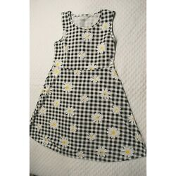 Girls Casual Summer Dress BLACK WHITE GINGHAM PLAID Daisy Flowers SIZE S 6-6X