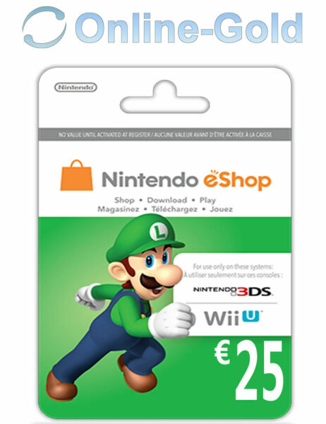 25€ Nintendo eShop Card - 25 Euro Nintendo Codice Download 3DS/WiiU/Switch [IT]