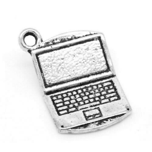 WHOLESALE 10 Packs Of 5 Antique Silver Tibetan Computer Charms 21mm Accessory