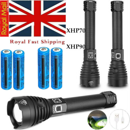 img-200000LM xhp70 Ultra Bright Flashlight T6 LED Tactical Torch Lamp Rechargeable
