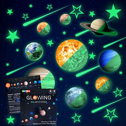 Glow in The Dark Stars and Planets, Bright Solar System Wall Stickers -Sun Earth