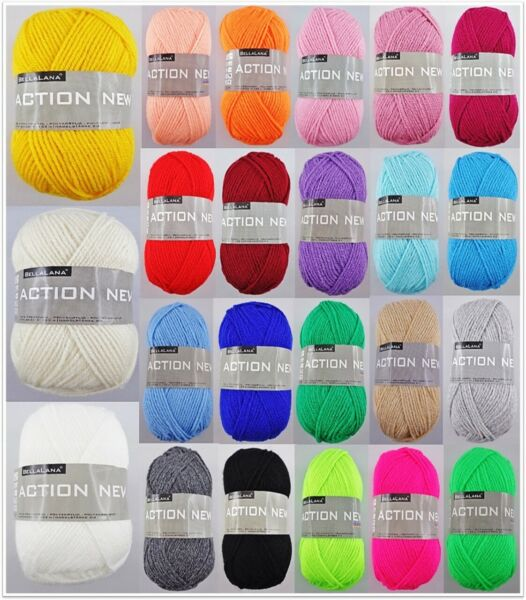 50g BellaLana Action New Wolle Handstrickgarn Wolle Stricken Häkeln GP2,00€/100g