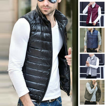 img-Mens Duck Down Lightweight Quilted Gilet Vest Packable Sleeveless Jacket Coat