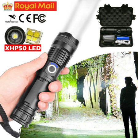 img-Portable 900000LM xhp50 LED Zoom Flashlight USB Rechargeable Tactical Torch Lamp