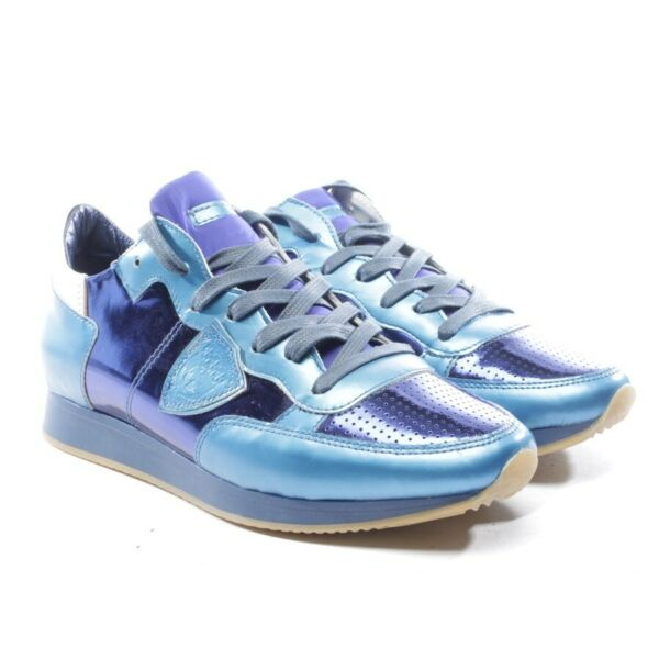AllemagnePhilippe Model Trainers Size D 38 Blue Silver Women's Shoes New  Flats
