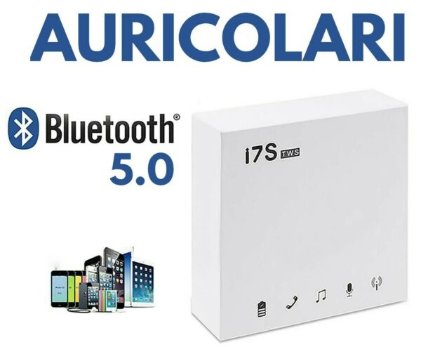 🎧CUFFIE i7S AURICOLARI BLUETOOTH WIRELESS COMPATIBILI 📱IPHONE-SAMSUNG-HUAWEI