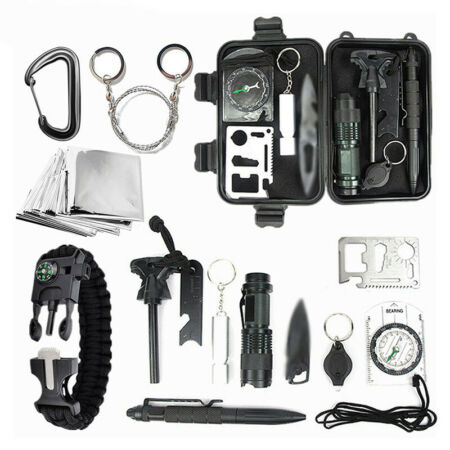 img-New 9 in 1 SOS Outdoor Kit Emergency Equipment Box Camping Survival Gear Kit UK