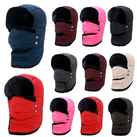 img-Mens Womens Earflap Winter Warm Fur Trapper Russian Trooper Cap Snow Ski Hat Out