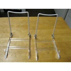 Pair of 2 GIBSON HOLDERS Hinged Display Stand WHITE Clear Base USA MADE Free S&H
