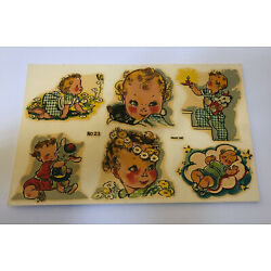 Vtg. Eagle Decal Co. Baby Decals Nursery 6 Decals Rosy Cheeks Boy Girl Gingham