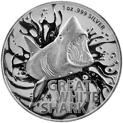 Kyпить 2021 Australia $1 Great White Shark 1 oz .999 Silver Coin BU - NEW in Capsule на еВаy.соm