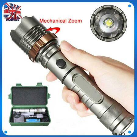 img-Powerful T6 LED Flashlight Focus Military Torch Bike Light Head Silver Bright