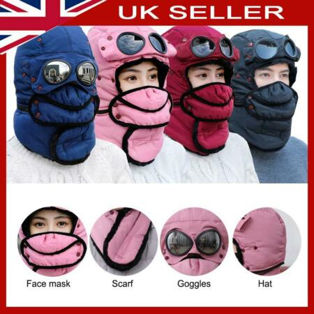 img-Thermal Trapper Women Man Ski Hat Winter Windproof Mask + Scarf + Goggle Hat Cap