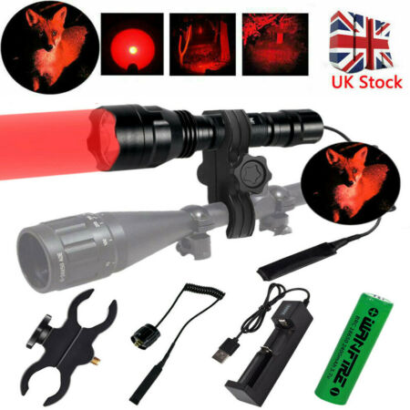 img-8000LM Tactical Scope Mount Flashlight Lamp Hunting Gun Air Rifle Torch Light