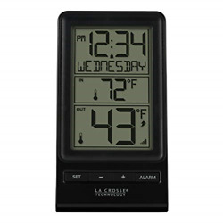 La Crosse Technology 308-1415BW Digital Wireless Thermometer with Time, Black