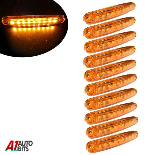 Royaume-UniDix Orange Super Brillant 9 Diodes Slim Ligne Côté  Lampes Car Van 100mm
