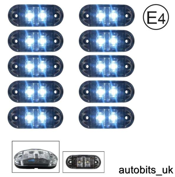 Royaume-Uni10x Blanc Transparent 12v 2 LED Côté Avant  Phares Camion E-Mark