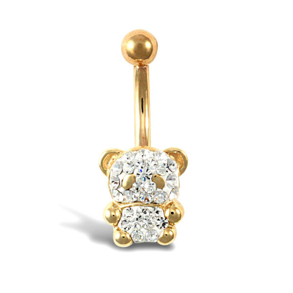 Royaume-UniJewelco London 9ct or Cristal  Ours Banane Ventre Barre, 10mm
