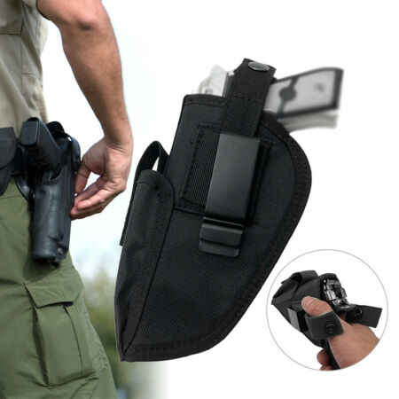 img-1PCS Military Tactical Pistol Holster Magazine Waist Belt Hand Gun Holder Black