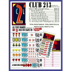 Kyпить 696ct 5W CLUB 213'S seal card Bingo Pull Tab Tip Board  (1-$213's) Last Sale на еВаy.соm