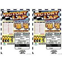 Kyпить 2 -320ct 1W VICTORY LAP seal card Bingo Pull Tab Tip Board  (1-$100) LS sign OPT на еВаy.соm