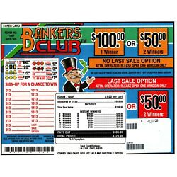 Kyпить 505ct 5W BANKERS CLUB seal card Bingo Pull Tab Tip Board  (1-$100) LS sign OPT на еВаy.соm