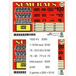 Kyпить JAR TICKETS!!! 2 games-1520 4's NUMERALS  Bingo Pull Tab Tip Board ($100) на еВаy.соm