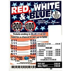 Kyпить JAR TICKETS!!! 2880ct 4's RED WHITE & BLUE Bingo Pull Tab Tip Board ($200) на еВаy.соm