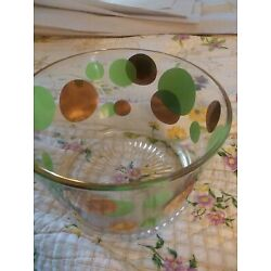 Kyпить Vintage Mid Century Mod Russel Wright Eclipse Ice Bowl Bucket green  Gold Dots  на еВаy.соm