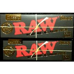 Raw Classic Black Ultra Thin 1 1/4 Natural Unrefined Rolling Papers 2 Pack of 50