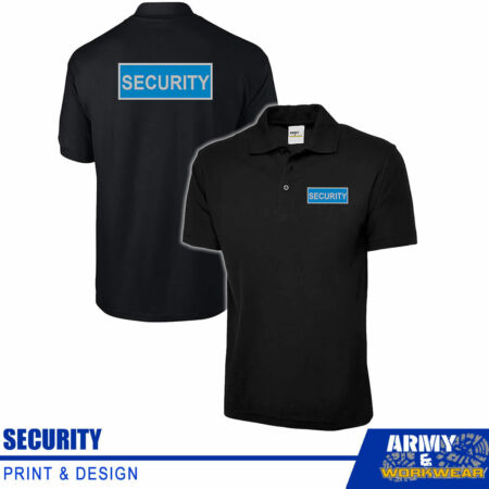 img-Black Reflective Badge Security Polo Collat T-shirt Printed Work Uniform Shirt
