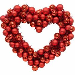 "Kyпить Red Heart Ornament and Tinsel Wreath, Valentine's Day Decoration, 16"" Wide на еВаy.соm"