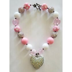 Kyпить Girls Bubblegum Chunky Bead Necklace Pink White & Silver Big Beaded Heart на еВаy.соm
