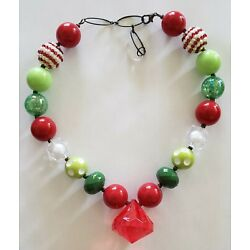Kyпить Girls Bubblegum Chunky Bead Necklace Red White Green Christmas Mexico на еВаy.соm