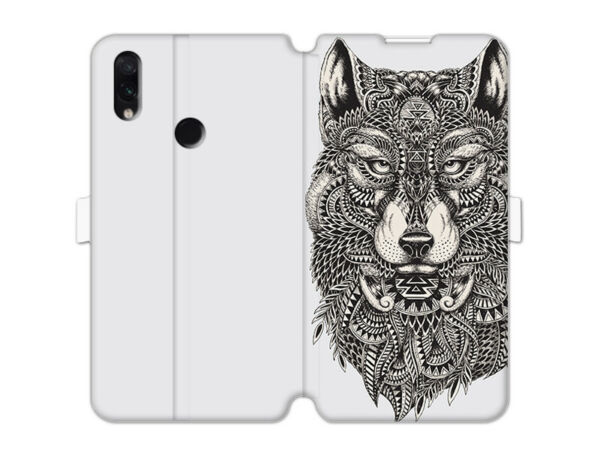DeutschlandRedmi Note 7 Hülle etuo Wallet Book  Case Cover TPU Azteken Wolf