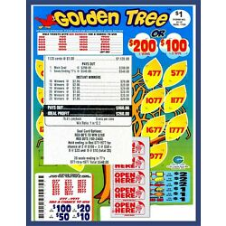 Kyпить 1120ct 5W $1.00 GOLDEN TREE Bingo seal card pull tab Last Sale sign ($200)  на еВаy.соm