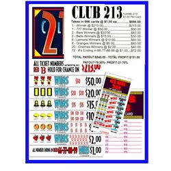 Kyпить Seal Card 696ct 5W $1.00 CLUB 213 bingo break open Last Sale sign on ($213) на еВаy.соm