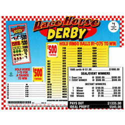 Kyпить Seal Card 1880ct 3LGW $1.00 RACE HORSE DERBY Bingo pull tab (2-$500)  на еВаy.соm