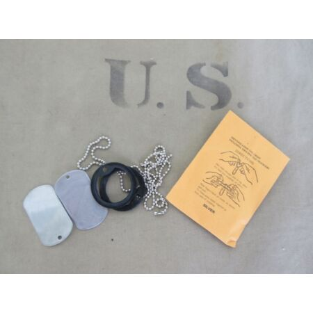 img-US Army Id Dog Tags Dog Tag Silencer Black Iraque 1991 Desert Storm Set