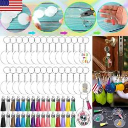 Kyпить 120PCS Acrylic Keychain Blanks with Tassels Acrylic Circle Discs Key Ring DIY US на еВаy.соm