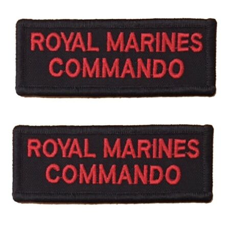 img-Pair of Red on Black Royal Marines Commando Rectangle HOOK Backed Flash / Titles