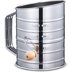 Kyпить Stainless Steel Flour Sugar Sifter Rotary Hand Crank 3 Cup With 2 Wire Agitator на еВаy.соm