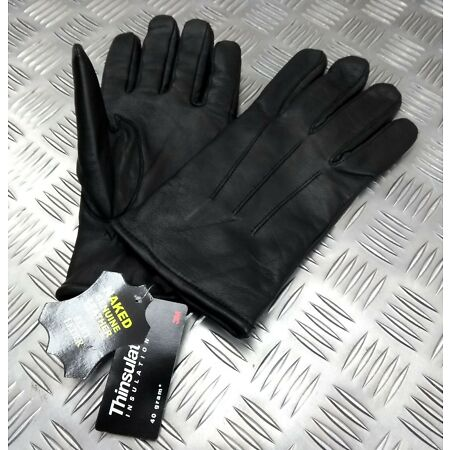 img-Military Spec Officers Black Leather Soft Thinsulate Lined 3 Dart Parade Gloves