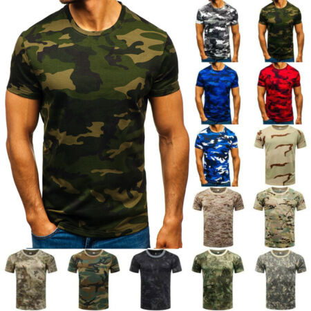 img-Mens Summer Short Sleeve Camouflage Camo Military T-Shirt Army Muscle Blouse Top