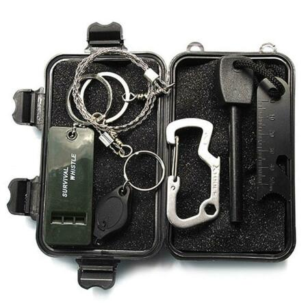 img-T3 Outdoor Survival Kit Set 6 in 1 Camping First Aid SOS Whistle Fretsaw ✧