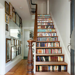 13Pcs 3D Bookcase Entrance Stair Risers Staircase Sticker DIY Photo Mural